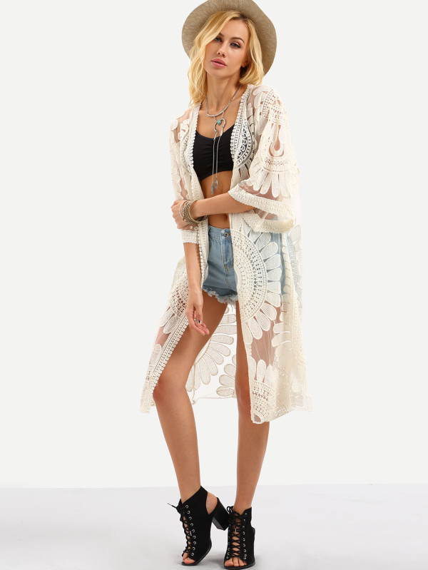 Open-Front Flower Embroidered Mesh Kimono
