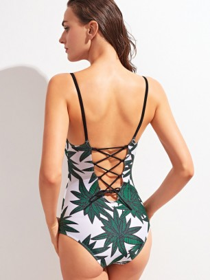 Tropical Print Lace Up Back Swimsuit