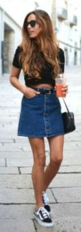 Denim short skirt